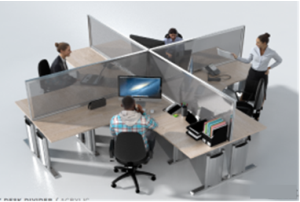 4 pod desk top dividers