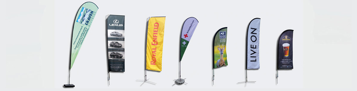 advertising flags and pop-up banners